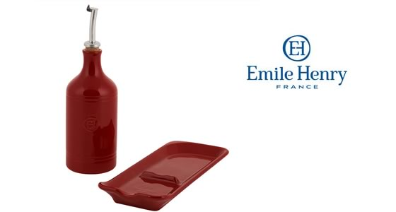 Emile Henry Oil Cruet and Spoon Rest Gift Set