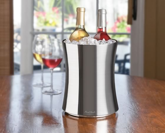 Stainless Steel Double Wall Ice Bucket – Fits two bottles!