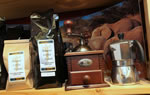 Coffee beans, grinds, grinders and accessories